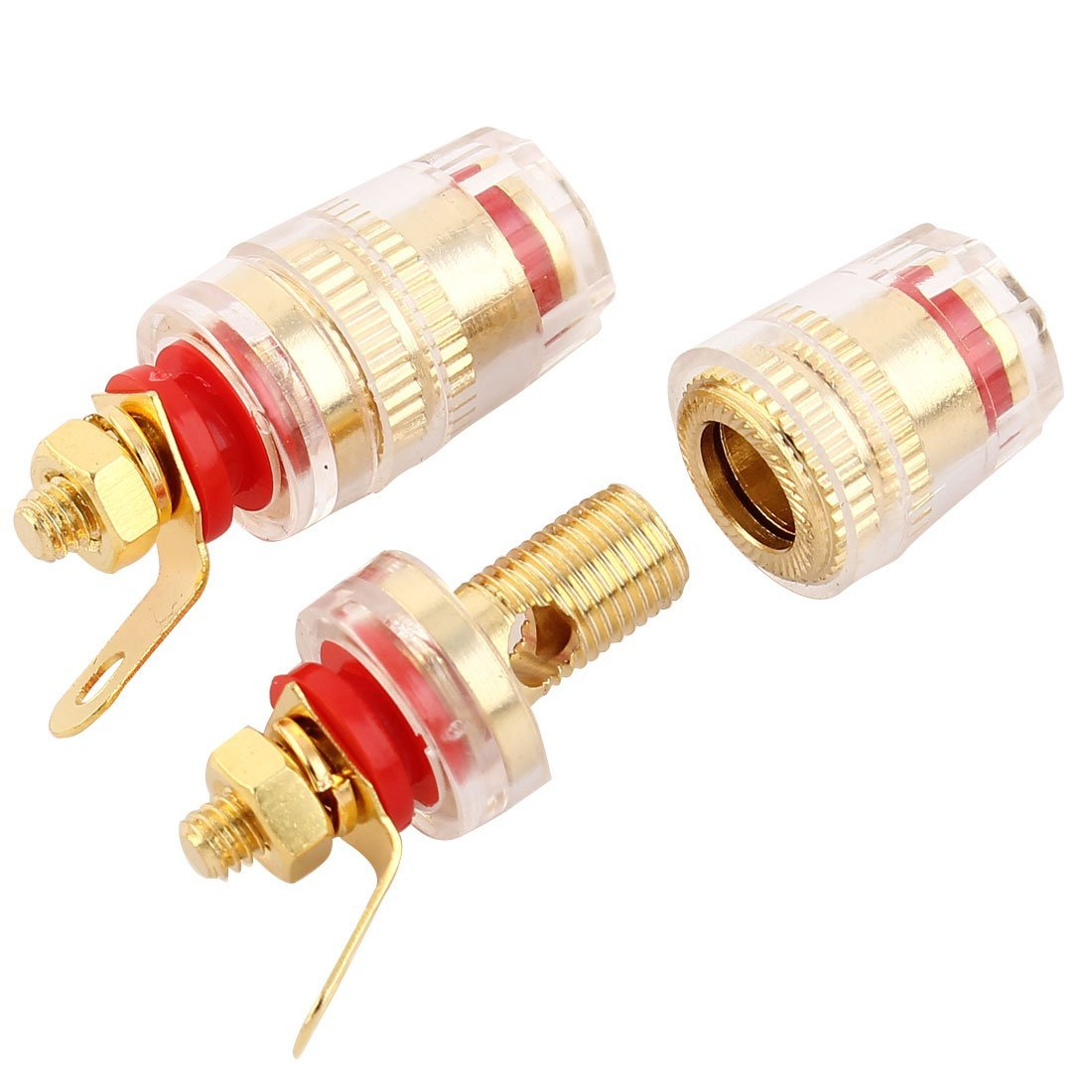 eDealMax cobre Binding Post oro Rojo DE 10 PCS tono de Audio del altavoz del conector de plátano by eDealMax