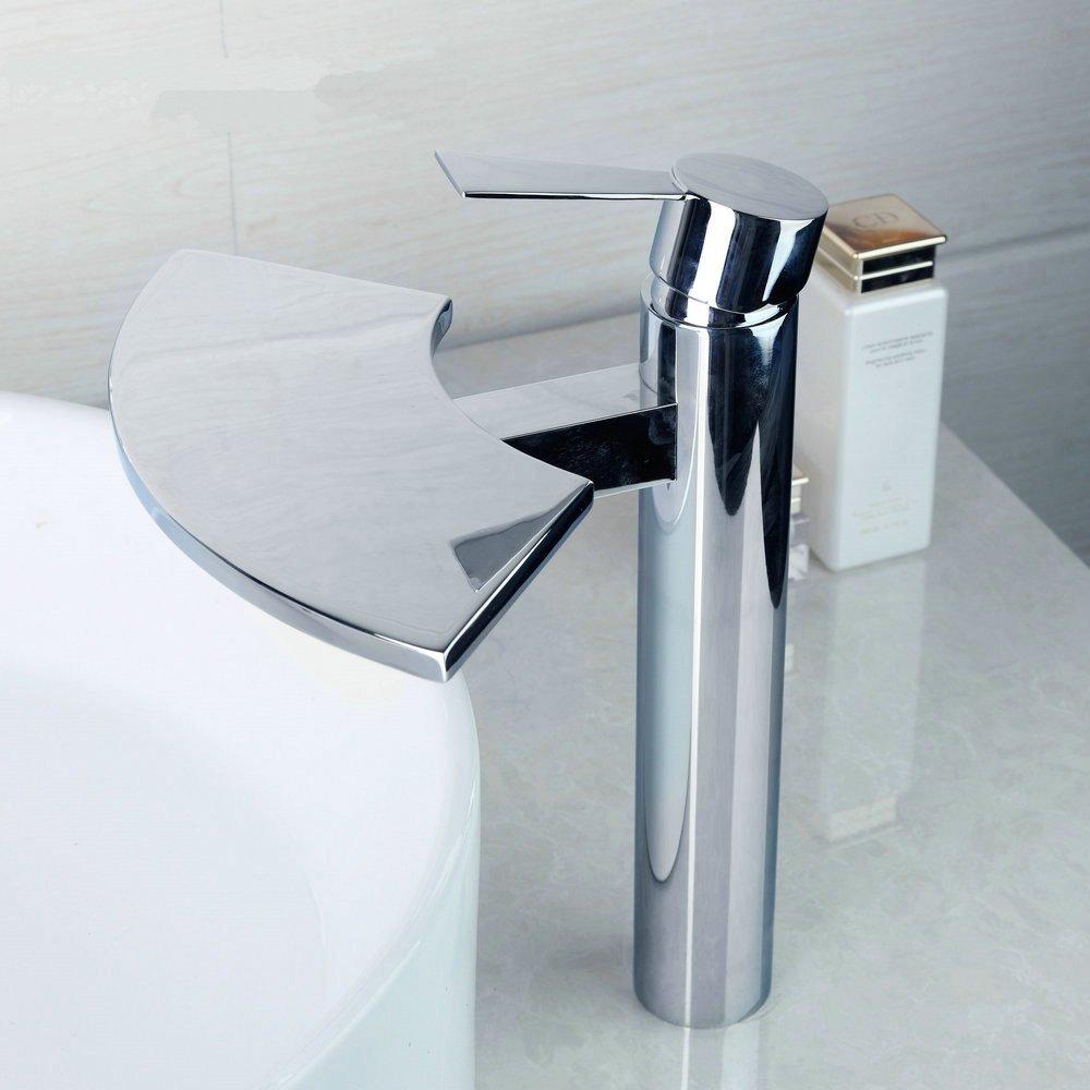CZOOR Badezimmer-Wannen-Mischer-Hahn Fans Stil Modern Messingchrom-Taps-weit verbreiteten Wasserfall-Badezimmer-Bassin-Mischer-Wannen-Hahn-Wasser-Hahn