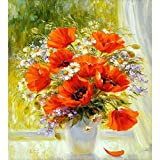 Paint by Numbers Kits for Adults Kids DIY Number Painting Beautiful Red Poppy Flowers in The Vase 40x50cm New Stamped Canvas (No Frame)
