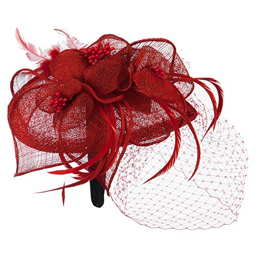 Sinamay Tear Drop Cocktail Hat - Red OSFM