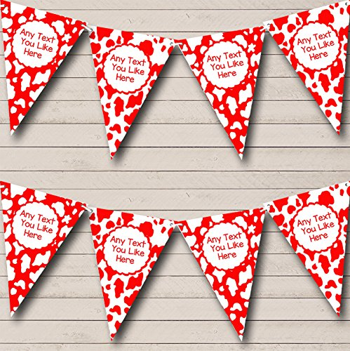 Cow Print Animal Red And White Personalized Birthday Party Bunting Banner by The Card Zoo