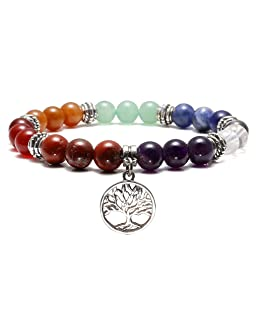 Top Plaza 7 Chakra Reiki Healing Bracelet Real Stones Yoga Meditation Mala Bead Elastic Bracelets for Women, Silver Alloy Tree of Life Charm