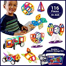 Brainiac® 116pc Magnetic Building Blocks Set for Education for Age 4+ Kids, Toddlers Ferris wheels and Car Set BONUS Storage Box for boys and girls