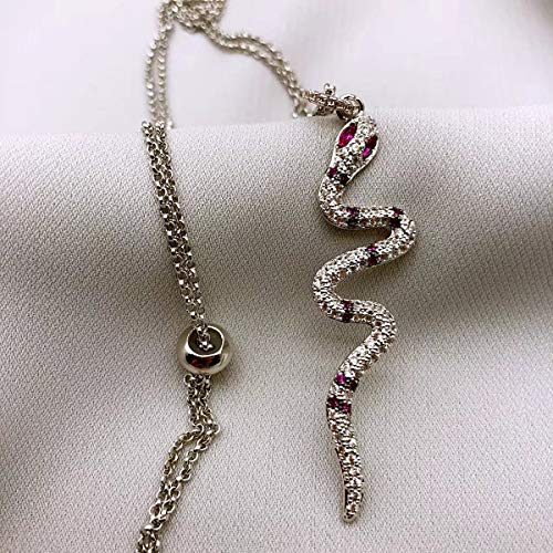 Libaraba 925 Silver Animal Red-Eyed Snake Pave Crystal Pendant Necklace with Jewelry Box,Snake Necklace for Women (Silver) ()