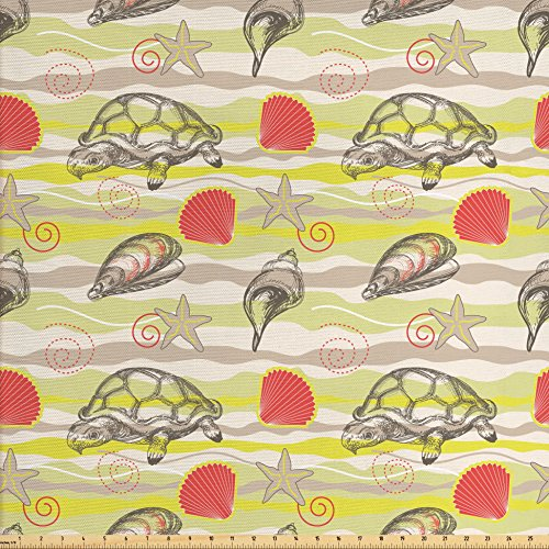 Sea Shells Fabric by the Yard by Ambesonne, Abstract Wavy Background Stars and Vortex Designs Tortoise Clams, Decorative Fabric for Upholstery and Home Accents, Yellow Green Tan (Tortoise Decorative Pillow)