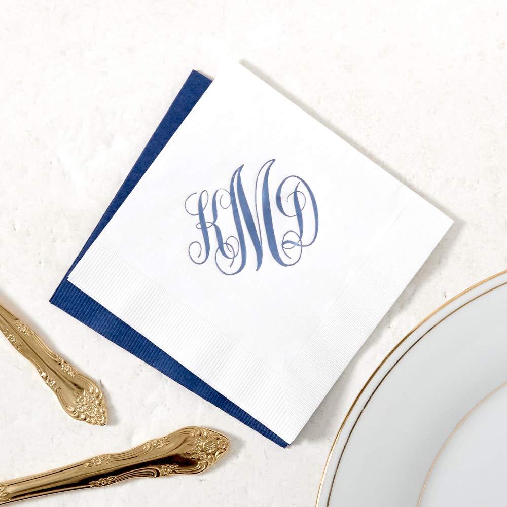 Personalized Cocktail Napkins | 100 Count | 5'' x 5'' | Romantic Monogram Napkin