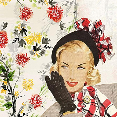 Gifts Delight LAMINATED 24x24 inches Poster: Vintage Lady Girl Woman Fifties Hat Glove Bob Hairstyle Retro Green Ornate Collage Art Fashion Young Female Glamour People Model Luxury Style Adult -
