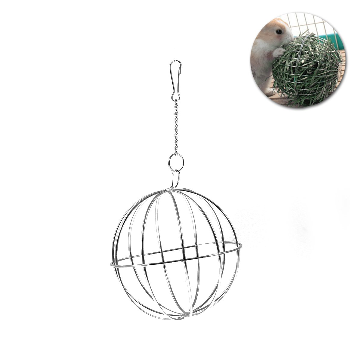 UEETEK 8cm Sphere Treat Guinea Pig Hamster Rat Rabbit Feed Dispenser Hanging Ball Toy for Pets