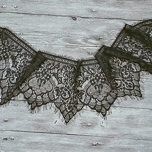 3 Meters Stretch Lace Fabric Black Flower Pattern Fabric Black Elastic Fabric for Tops Lingerie (Ruffled Elastic Trim)
