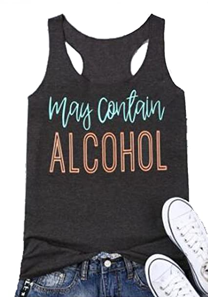 b162371b Amazon.com: FAYALEQ May Contain Alcohol Tank Tops Funny Drinking Party  Sleeveless Shirt Women Letters Print Casual Vest Tees: Clothing