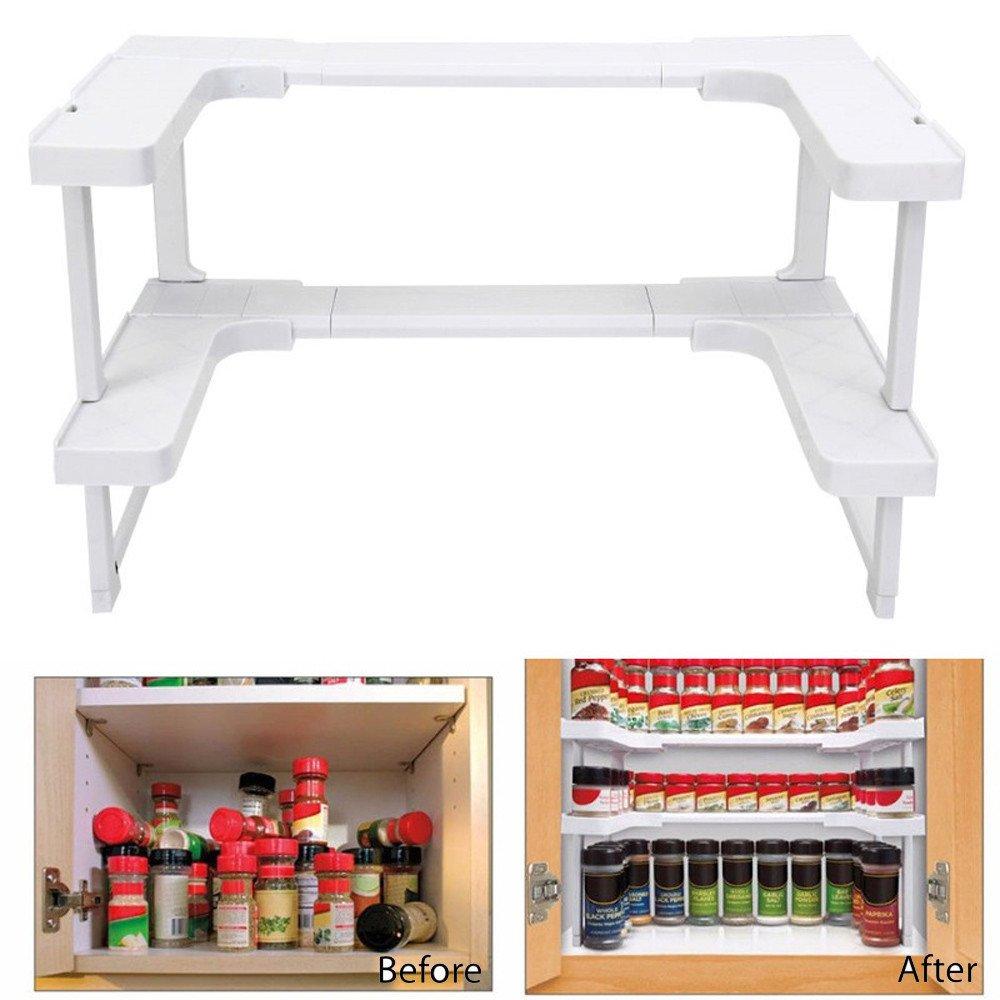 Kathson 2-Tier Corner Storage Organizer Shelf Kitchen Spice Rack,Makeup Counter Organizing Stand SMYTShop