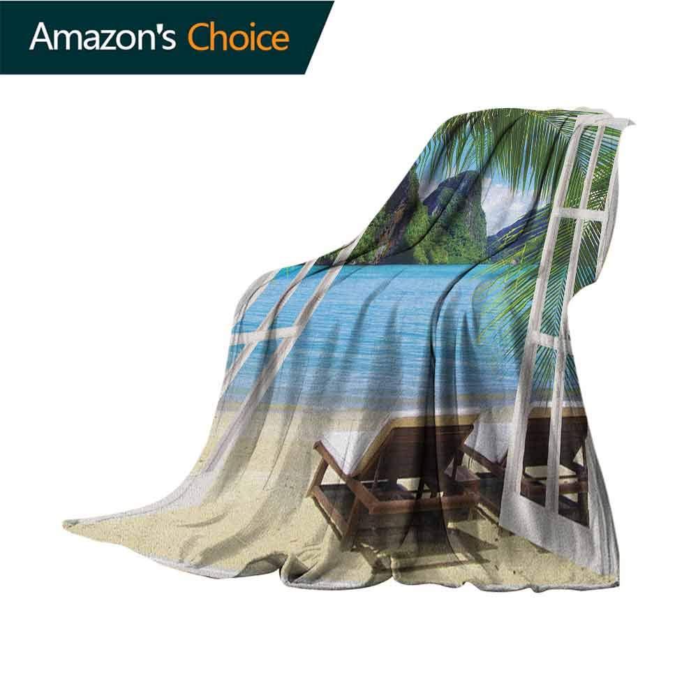 Beach Lightweight Blanket,Palm Trees in Ocean Heaven Sunbeds Balcony White Wooden Windows Summer Tropical Throw Lightweight Cozy Plush Microfiber Solid Blanket,30'' Wx50 L Blue Green White