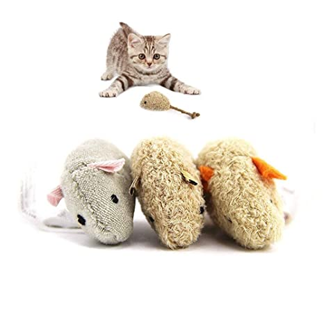 Pawaca - Juego de 3 ratones de juguete para gato – Nuevo ratón de simulación de