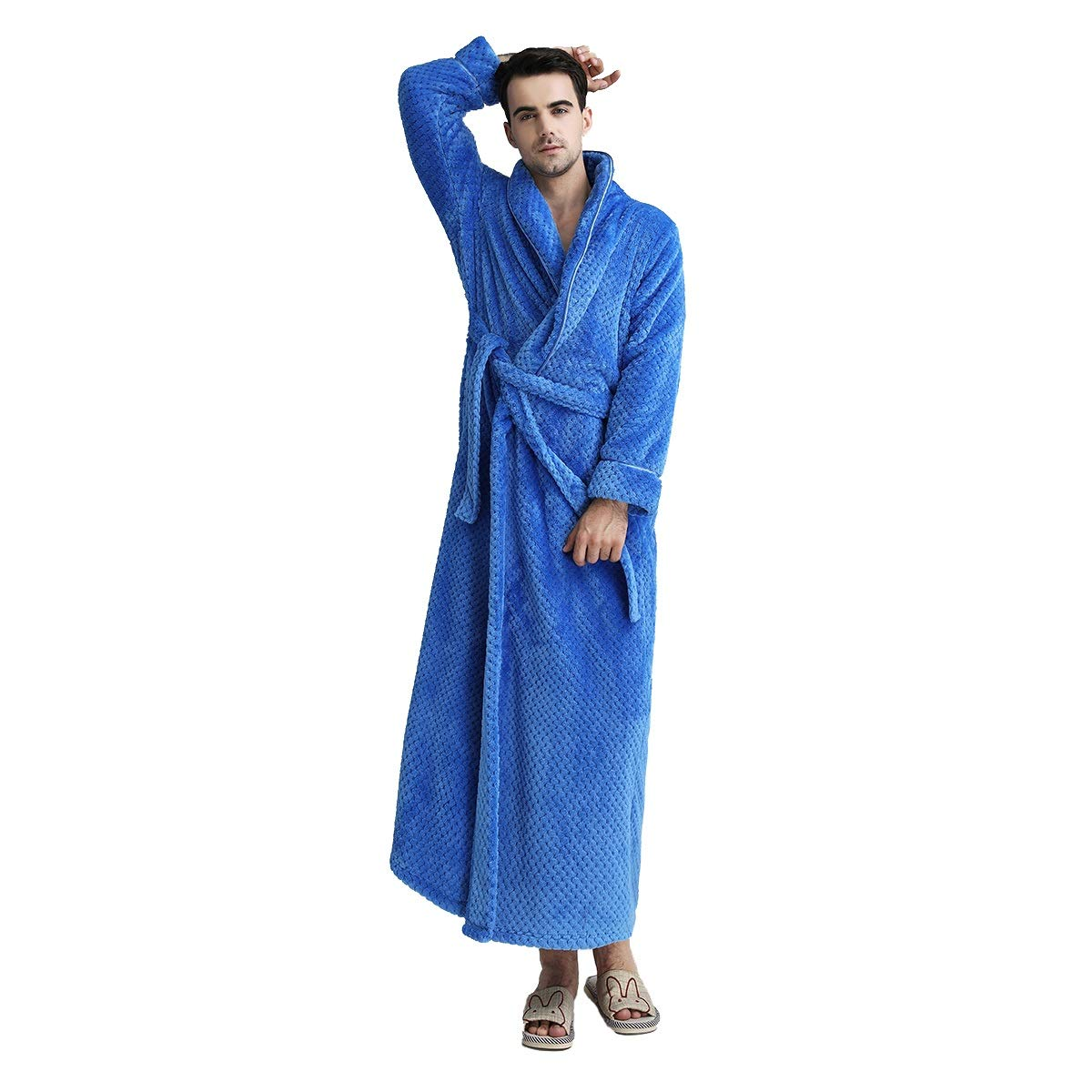 be02f0d2e5 MiaoFan Unisex Couple Flannel Dressing Gown Fluffy Long Sleeve Wrap Bathrobe  Thermal Plus Size Housecoat  Amazon.co.uk  Clothing