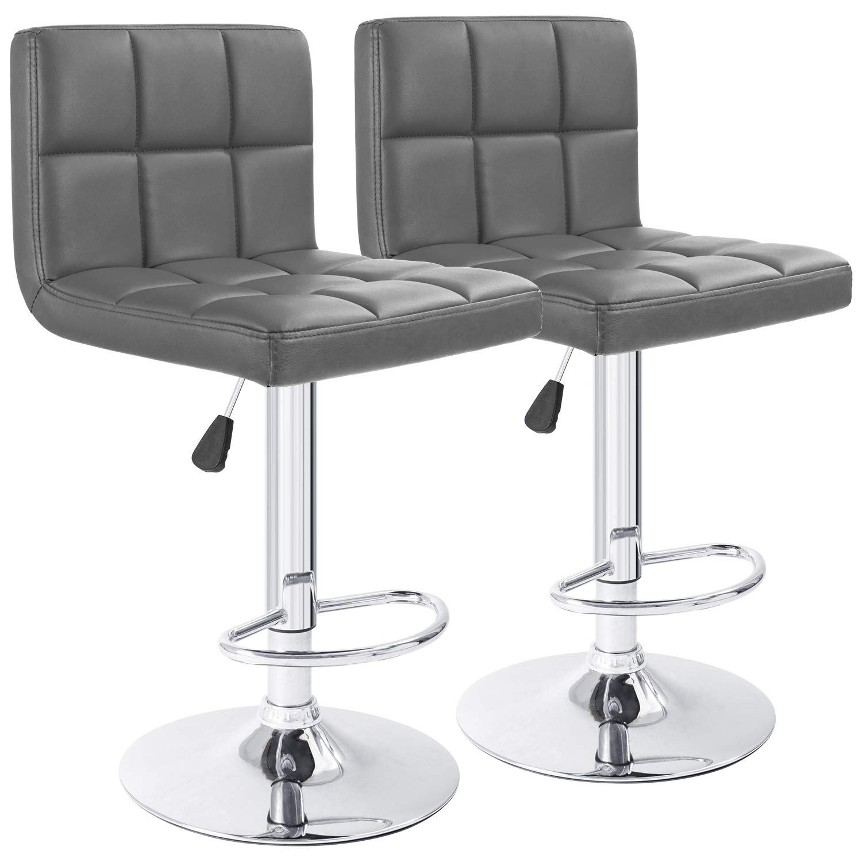 Furmax Bar Stools Gray Modern Pu Leather Swivel Adjustable Hydraulic Bar Stool Square Counter Height Stool(Set of 2)