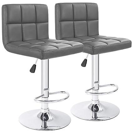 8901316df097 Amazon.com: Furmax Bar Stools Gray Modern Pu Leather Swivel Adjustable  Hydraulic Bar Stool Square Counter Height Stool(Set of 2): Kitchen & Dining