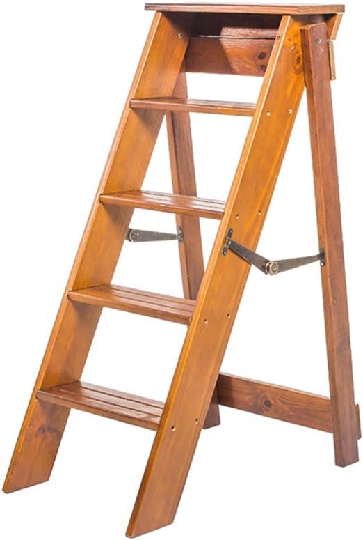 LIXIONG Escalera Plegable Multifunción Unilateral 5 Pasos Sube la Escalera Madera de Pino Grueso, 87 cm de Altura, 3 Colores (Color : Light Walnut): Amazon.es: Hogar