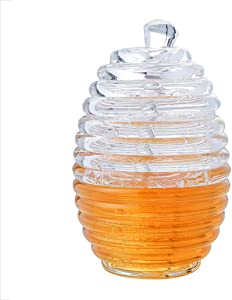 lzndeal Honey Pot Clear Jar with Dipper Lid Beehive Style for Home Kitchen,Glass Honey Pot,Transparent Glass Honey jar
