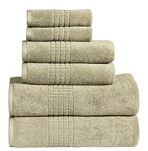 Dream Castle Linens 650 GSM Luxury 6-Piece 100% Long Staple Combed Cotton Bath Towel Set(BASIL);(90011) 2 Bath Towels,2 Hand Towels,2 Washcloths,Hotel & Spa Towels,MOSAIC,Terry,Soft & Absorbent by -
