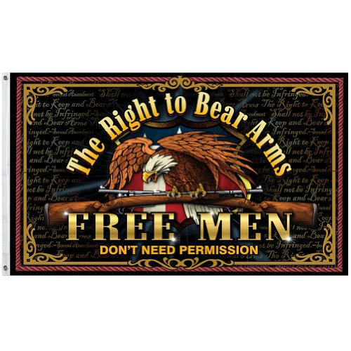 Free Men Don't Need Permission Flag - 2nd Amendment Right to Bear Arms Flag
