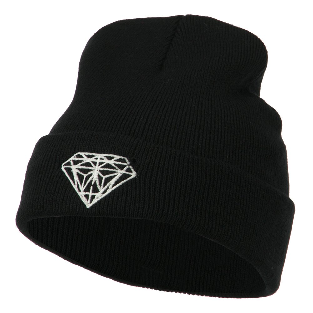 bf33a3d7c7a Amazon.com  White Diamond Embroidered Long Cuff Beanie - Black OSFM   Clothing