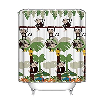 Genial Monkey Bathroom Decor   Monkey Shower Curtain With 12 Shower Hooks