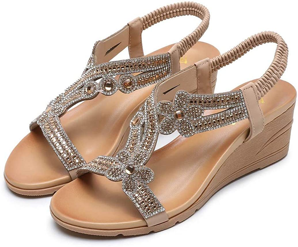 Nevera Women Party Dress Sandals Casual Crystal Floral Wedge Open Toe Shoes Summer Elastic Ankle Strap Beach Sandals