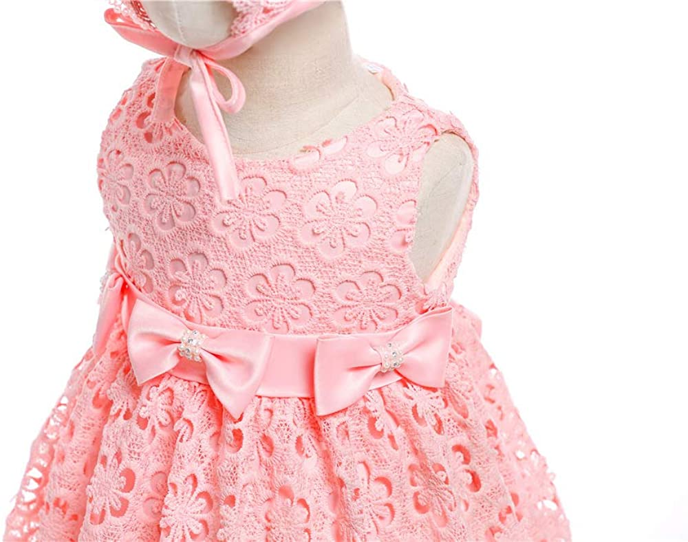 Baby Girls Birthday Christening Dress Baptism Wedding Party Flower Dress with Hat