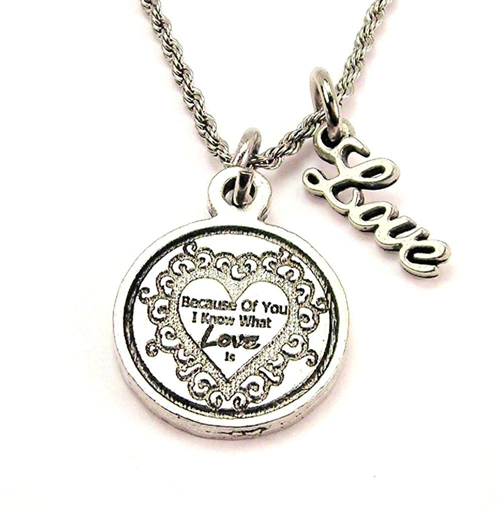 ChubbyChicoCharms Because of You I Know What Love is Stainless Steel Rope Chain Cursive Love Necklace