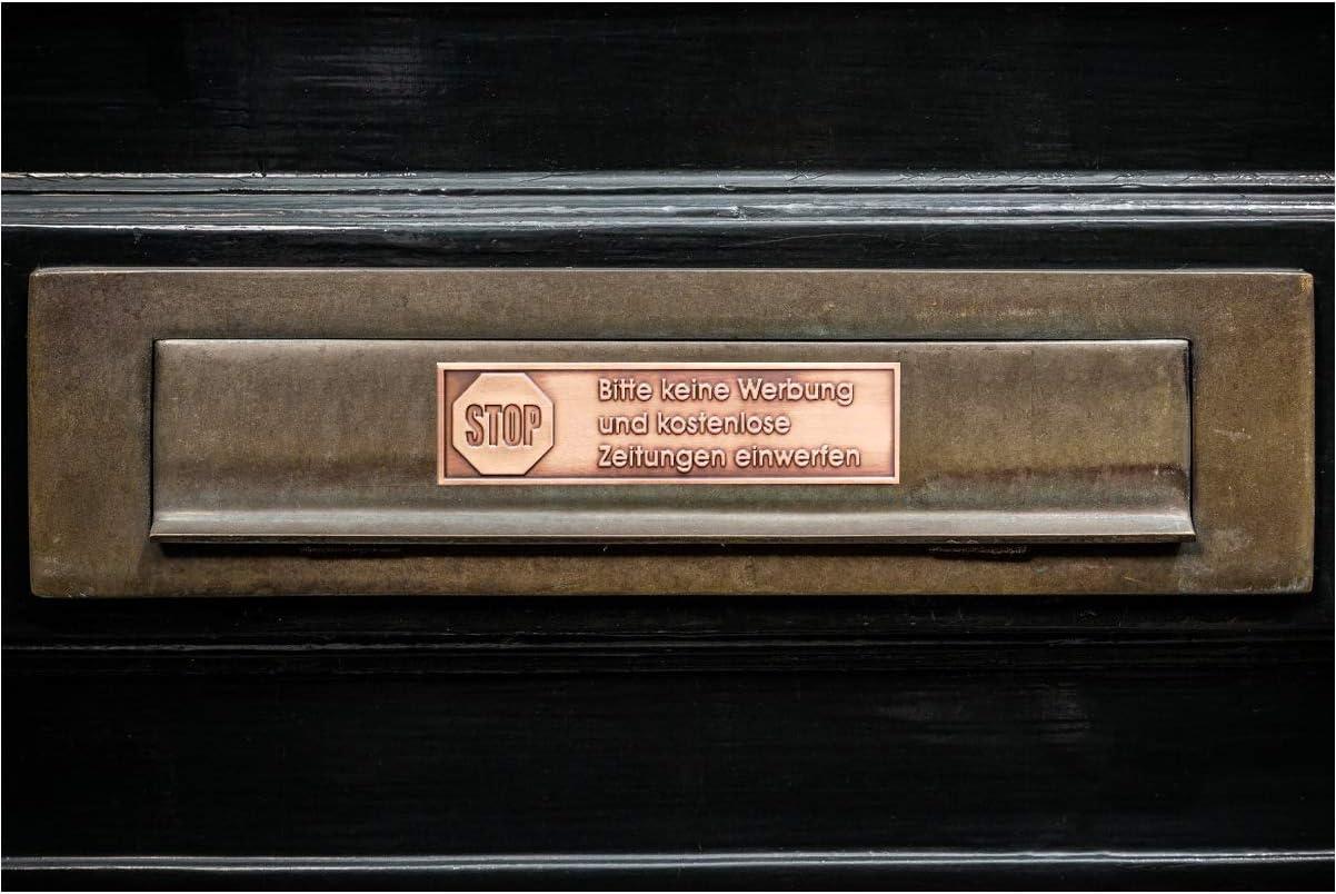 70 x 100mm 100/% Gepr/ägtes Metall Next Alpha Keine Werbung Schild Kupfer