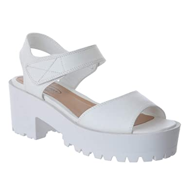 46c99c6d23e Ladies Womens Chunky Wedge Cleated Sole Strappy Platform Peeptoe Sandals  Shoes  White Faux Leather