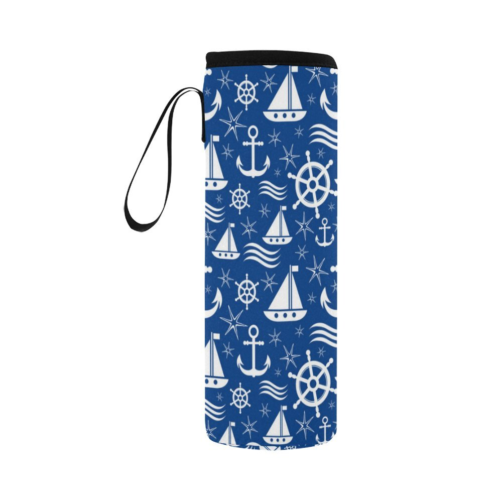 InterestPrint Ocean Ship Anchors Stars Neoprene Water Bottle Sleeve Insulated Holder Bag 16.90oz-21.12oz, Blue White Sport Outdoor Protable Cooler Carrier Case Pouch Cover with Handle