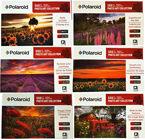 Set of 6 Polaroid 500pc Photo Art Collection Puzzles! Sunset Over Sunflowers, Reds in the Pasture, Lupines on the Hill, Poppy Field, Field of Gold, Sunrise over Lavender 11