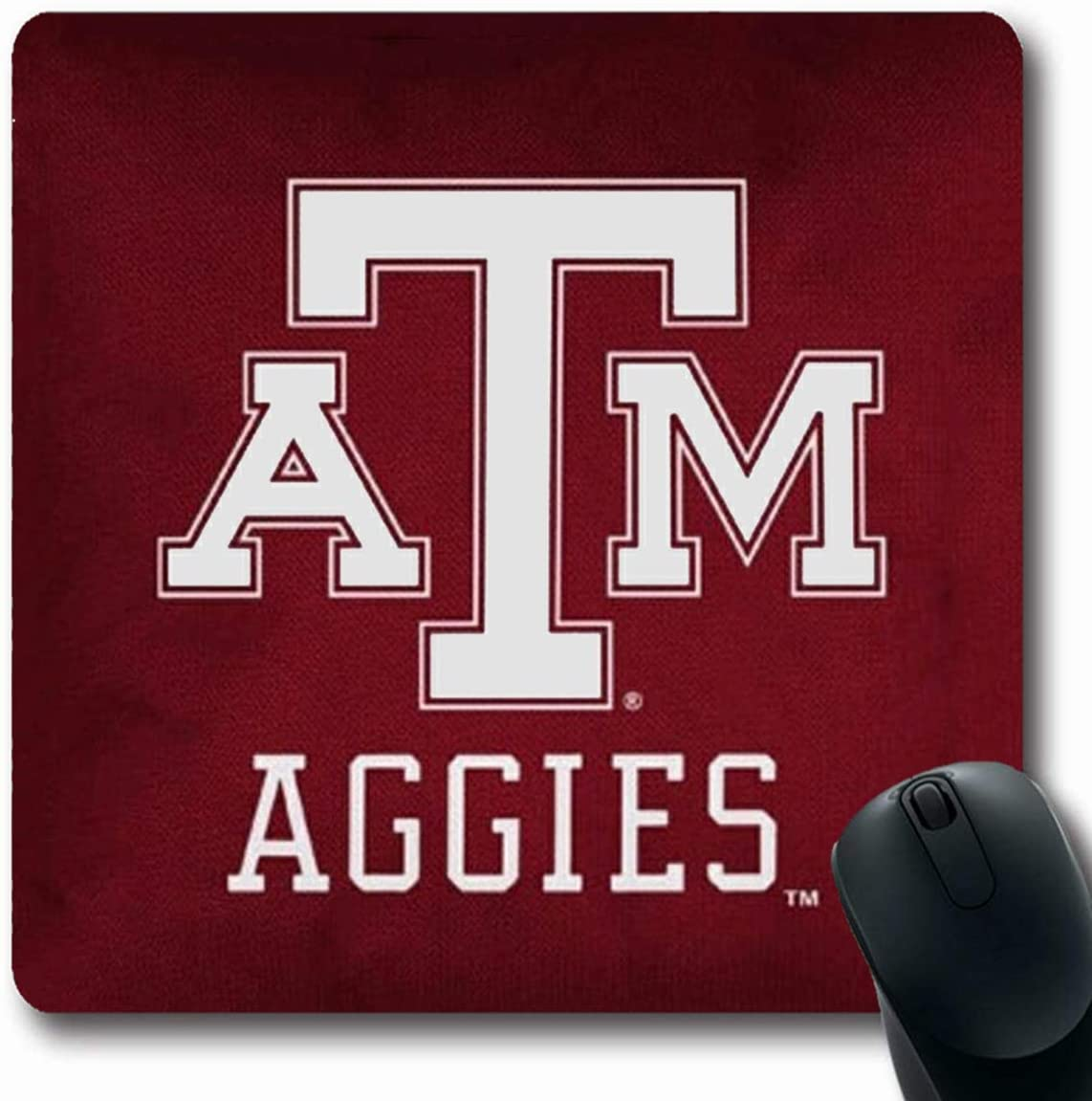 Ahawoso Mousepads Squarer Red Texas A and M Printed Oblong Shape 7.9 x 9.5 Inches Oblong Gaming Mouse Pad Non-Slip Rubber Mat