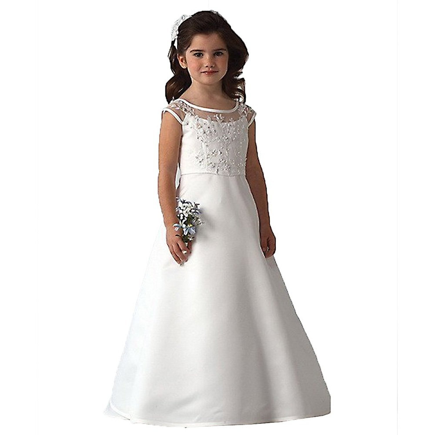Pigpig White A-Line Cap Sleeves Flower Girl First Communion Dresses China