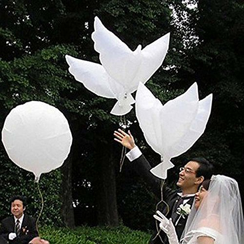 (Laylala Eco-Friendly Biodegradable Helium Balloons, White Peace Dove Balloon for Weddings, Anniversary, Christenings Birthdays and Memorials & Other Occasions- Set of)