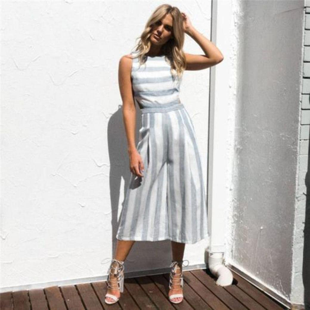 HARRYSTORE Women Elegant Wide Leg Long Pants Party Jumpsuits Romper High Waist Striped Sleeveless Clubwear Summer Casual Playsuit Outfits