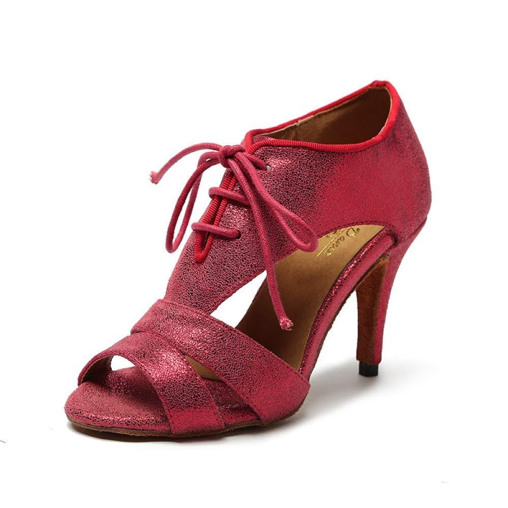 Yingsssq Sexy Tanzschuhe für Damen Latin Ballroom Salsa Tango Glitter Graphics rotHeeled8.5cm-UK3   EU33   Our34 (Farbe   rotheeled8.5cm Größe   UK5 EU37 Our38)