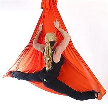 El yoga antigravedad Hamaca Correa volar para Yoga Pilates aérea la hamaca de yoga Pilates el columpio de yoga el equipo de la danza aérea Aerial Silks (Naranja, 5)