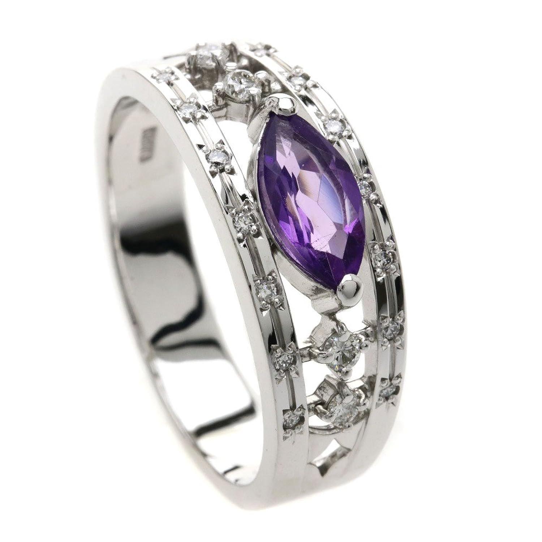 [セレクトジュエリー]アメジスト/ダイヤモンド リング指輪 K18ホワイトゴールド レディース (中古) B07BZWSSQB