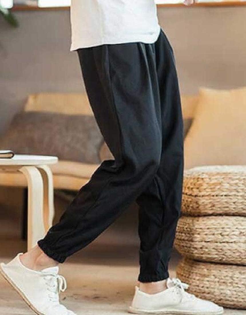 Zimaes-Men Loose Sports Pants Mid-Rise Waist Comfort Beam Foot Trousers