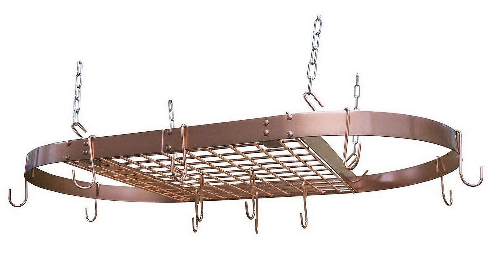 lunanice Large Copper Hanging Pot Rack size 1.5 H x 33 W x 17 D Inches Ceiling Hung Cookware Storage Grid Shelf Kitchen Storage & Organization