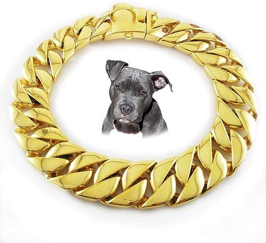 UTOPIAY Collar de Cadena para Perros de 32 mm, Dorado, Gargantilla ...