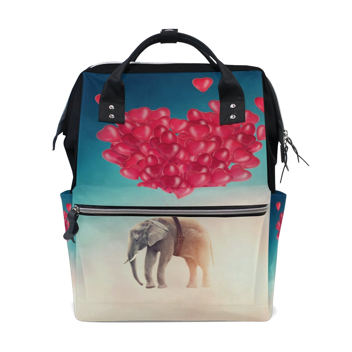 WOZO Sky Indian Elephant Flying with Balloon Multi-function Diaper Bags Backpack Travel Bag