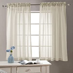 Sheer Curtains 63 inch for Bedroom Rod Pocket Window Treatment Curtain for Living Room Voile Drapes 2 Panels Nature