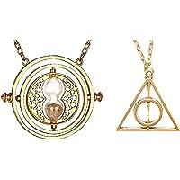 Inception Pro Infinite Ensemble de Deux Colliers Harry Mage - Platine tournante en sablier et Triangles reliques de la Mort - Couleur Or