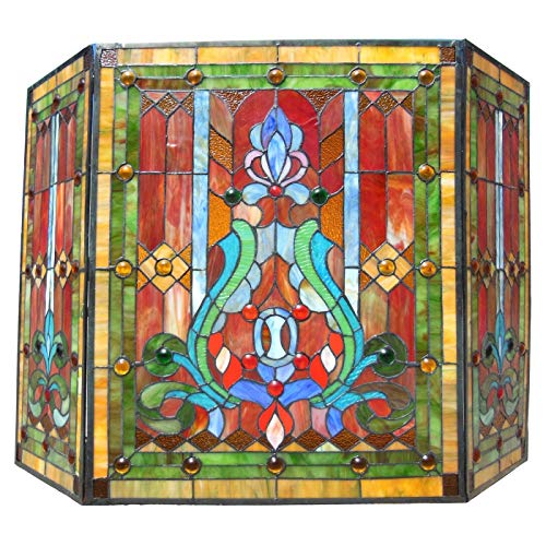 (Chloe Lighting Victorian Stained Glass Fireplace Screen)