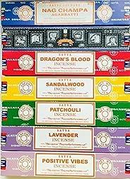 Satya Incense Gift Set Nag Champa, Super hit, Dragon's Blood, Sandalwood, Patchouli, Lavender, Positive Vibes, 15 g