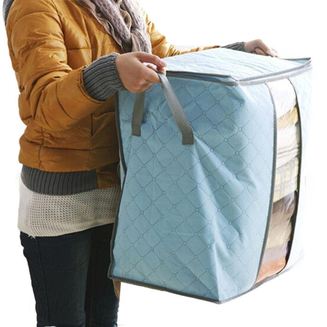 Dainzuy Colorful Clothes Portable Organizer Storage Bag, Non Woven Underbed Pouch Storage Bag Box (48X30X50cm) (Sky Blue, 48X30X50cm)