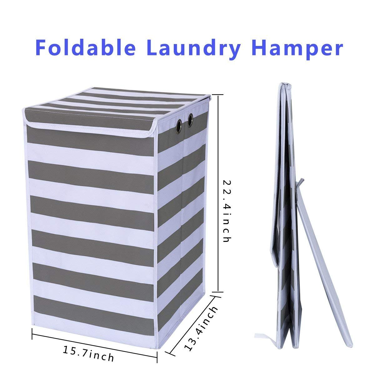 Chrislley Large Foldable Laundry Hamper Durable Laundry Basket Dirty Clothes Laundry Bag with Lid for Home College Room (White and Grey)